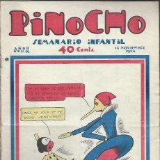 Tebeos: PINOCHO SEMANARIO INFANTIL AÑO II Nº 91 14 NOVIEMBRE 1926, ED. SATURNINO CALLEJA. Lote 50130958
