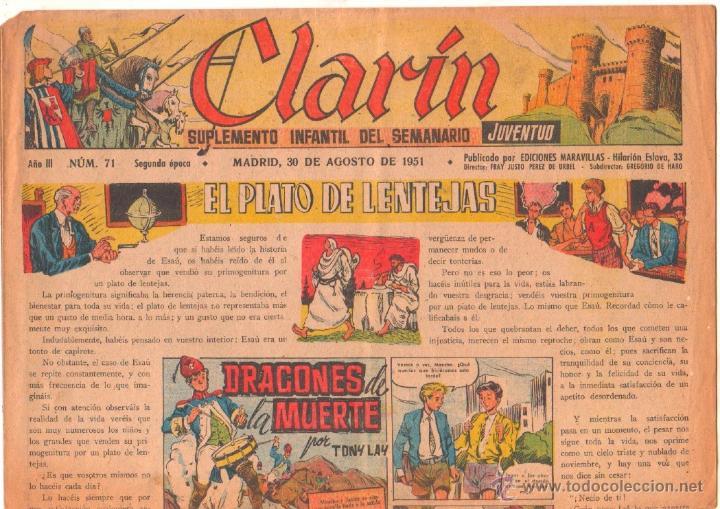 CLARIN Nº 71 ORIGINAL 1951 - 41 X 29 CMS.TONY LAY (Tebeos y Comics - Tebeos Otras Editoriales Clásicas)