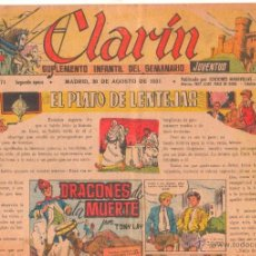 Tebeos: CLARIN Nº 71 ORIGINAL 1951 - 41 X 29 CMS.TONY LAY. Lote 50357764