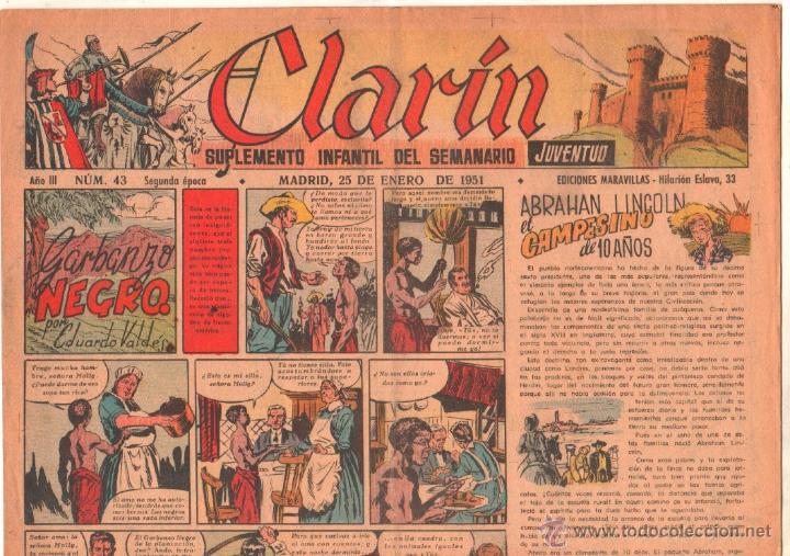 CLARIN ORIGINAL Nº 43 - 1951 - GRAN FORMATO 42 X 29 CMS.EDUARDO VALDES, MORO, (Tebeos y Comics - Tebeos Otras Editoriales Clásicas)