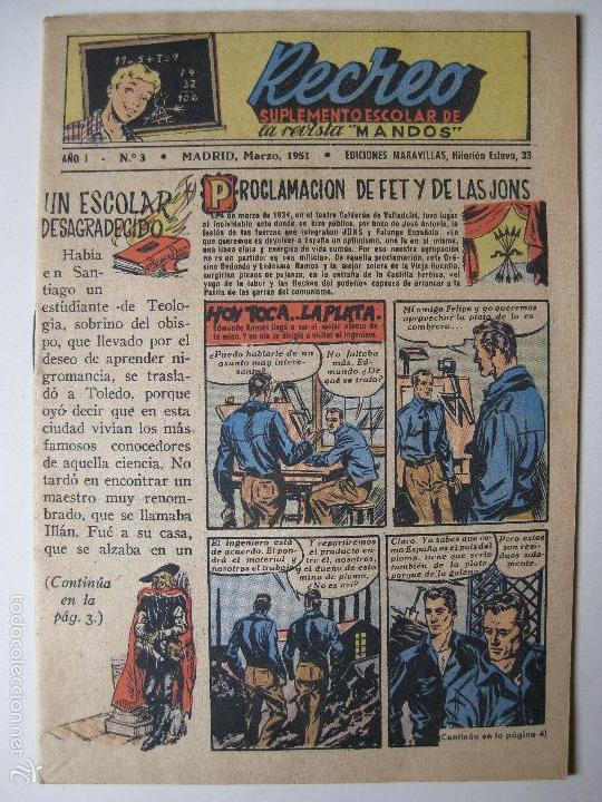 RECREO Nº3 - EDICIONES MARAVILLAS 1951 (Tebeos y Comics - Tebeos Otras Editoriales Clásicas)