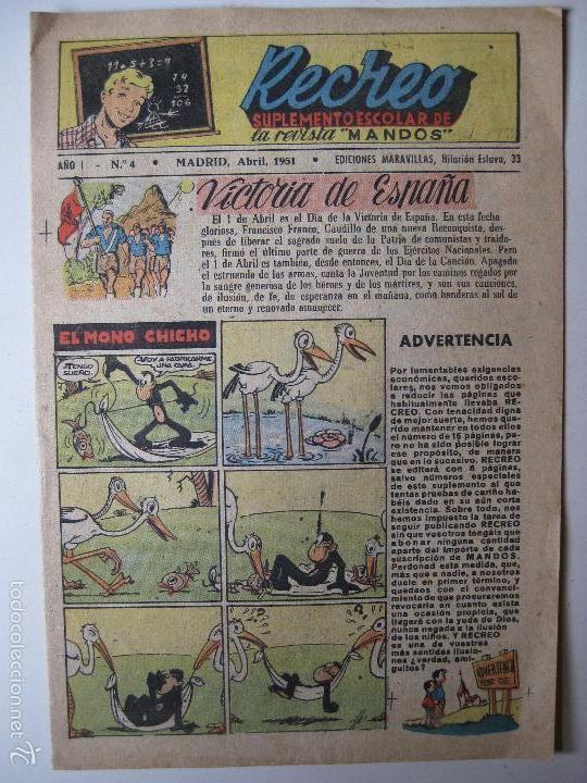 RECREO Nº4 - EDICIONES MARAVILLAS 1951 (Tebeos y Comics - Tebeos Otras Editoriales Clásicas)