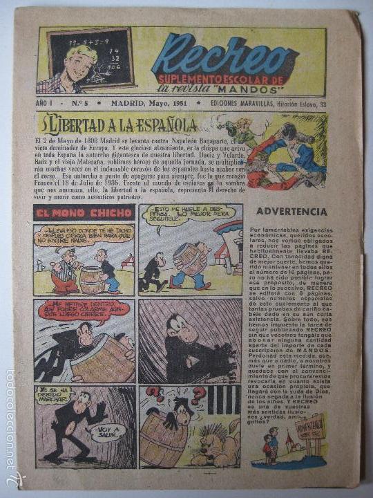 RECREO Nº5 - EDICIONES MARAVILLAS 1951 (Tebeos y Comics - Tebeos Otras Editoriales Clásicas)