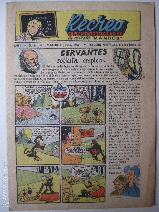 RECREO Nº6 - EDICIONES MARAVILLAS 1951 (Tebeos y Comics - Tebeos Otras Editoriales Clásicas)