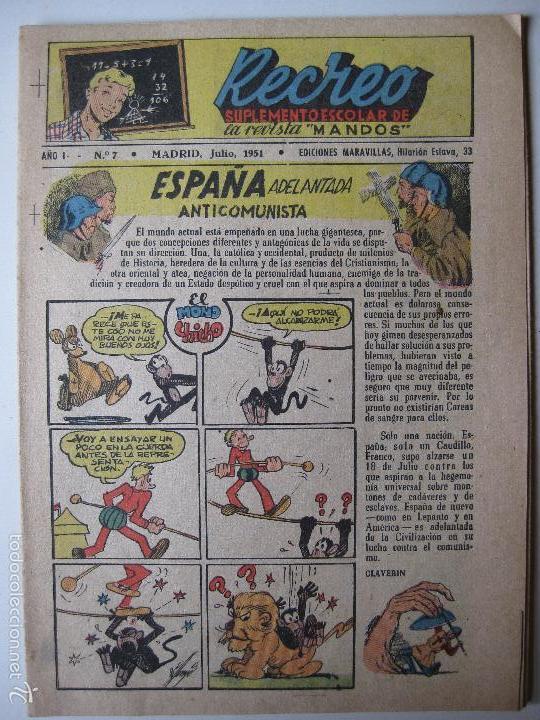 RECREO Nº7 - EDICIONES MARAVILLAS 1951 (Tebeos y Comics - Tebeos Otras Editoriales Clásicas)