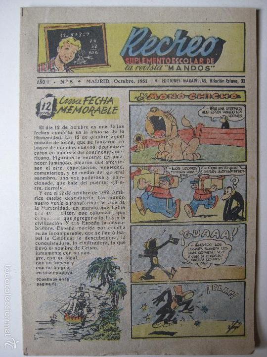 RECREO Nº8 - EDICIONES MARAVILLAS 1951 (Tebeos y Comics - Tebeos Otras Editoriales Clásicas)
