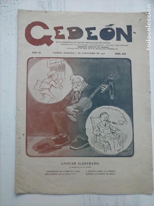 Tebeos: GEDEÓN ORIGINALES nºs 446 y 519 - 10 junio 1904 Madrid - 5 noviembre 1905 - Foto 2 - 108312695