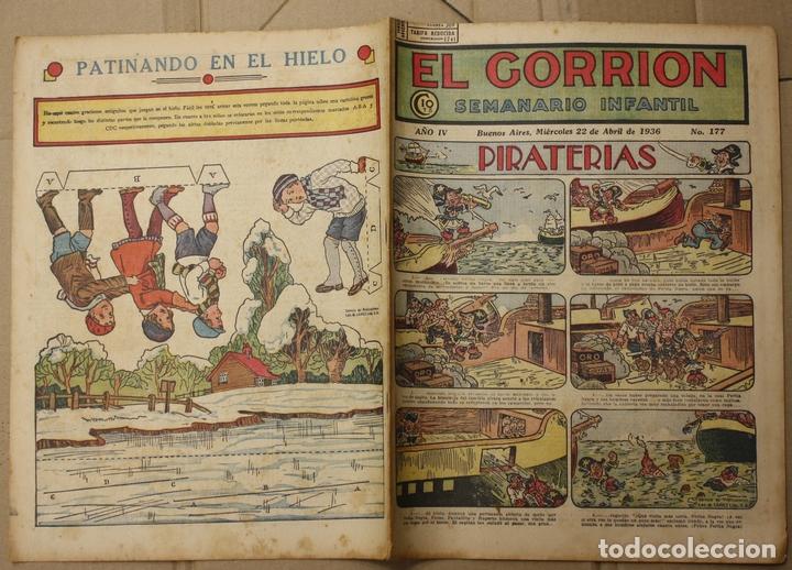 EL GORRION SEMANARIO INFANTIL. Nº 177. 22 DE ABRIL DE 1936. CON RECORTABLE EN TRASERA (Tebeos y Comics - Tebeos Clásicos (Hasta 1.939))