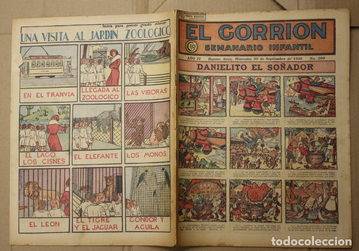 EL GORRION SEMANARIO INFANTIL. Nº 200. 30 DE SEPTIEMBRE DE 1936. BUENOS AIRES, ARGENTINA (Tebeos y Comics - Tebeos Clásicos (Hasta 1.939))