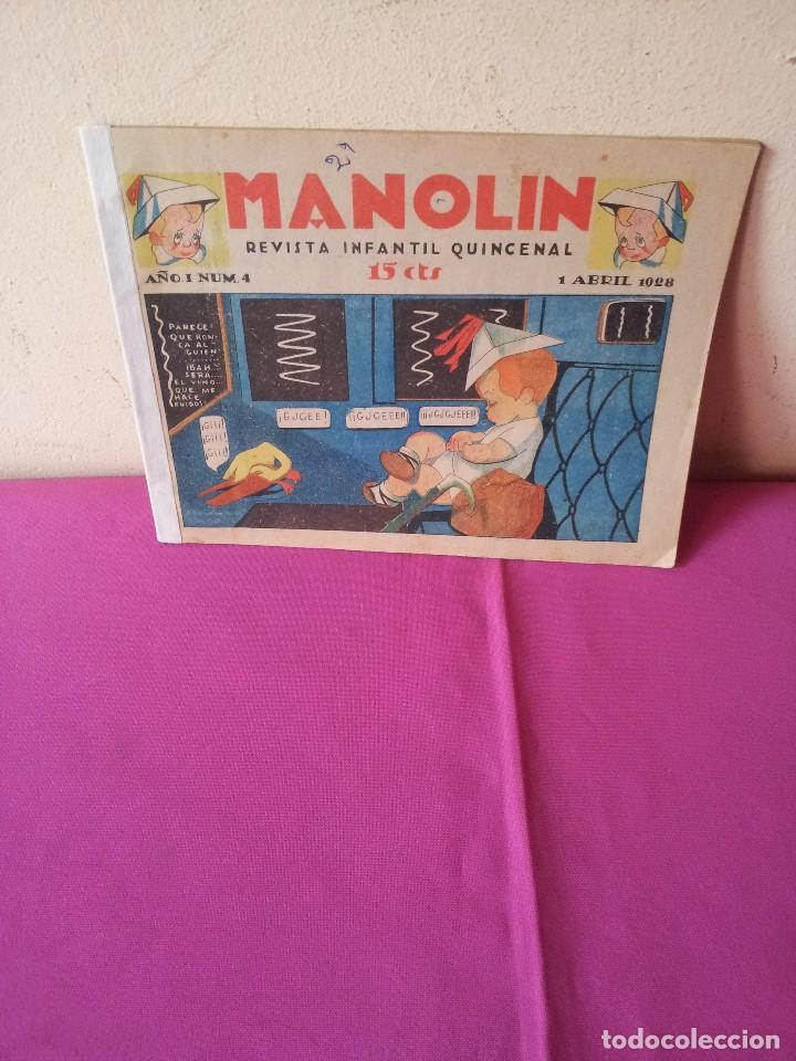 MANOLIN - REVISTA INFANTIL QUINCENAL - AÑO 1 NÚM 4 - 1 ABRIL 1928 (Tebeos y Comics - Tebeos Clásicos (Hasta 1.939))