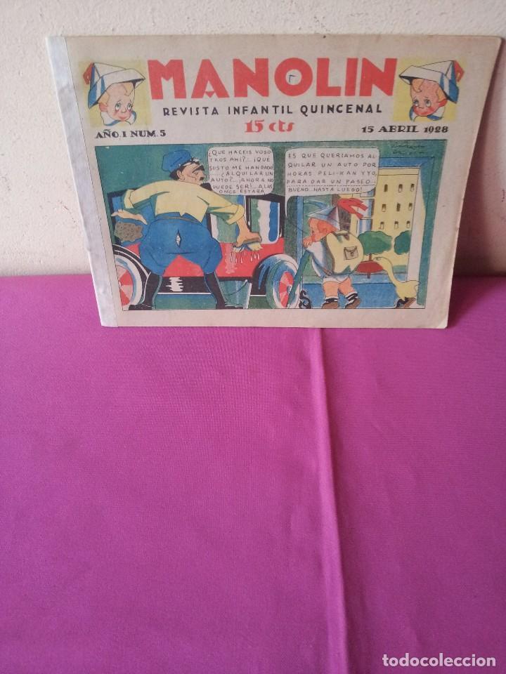 MANOLIN - REVISTA INFANTIL QUINCENAL - AÑO 1 NÚM 5 - 15 ABRIL 1928 (Tebeos y Comics - Tebeos Clásicos (Hasta 1.939))