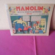 Tebeos: MANOLIN - REVISTA INFANTIL QUINCENAL - AÑO 1 NÚM 5 - 15 ABRIL 1928. Lote 115598767