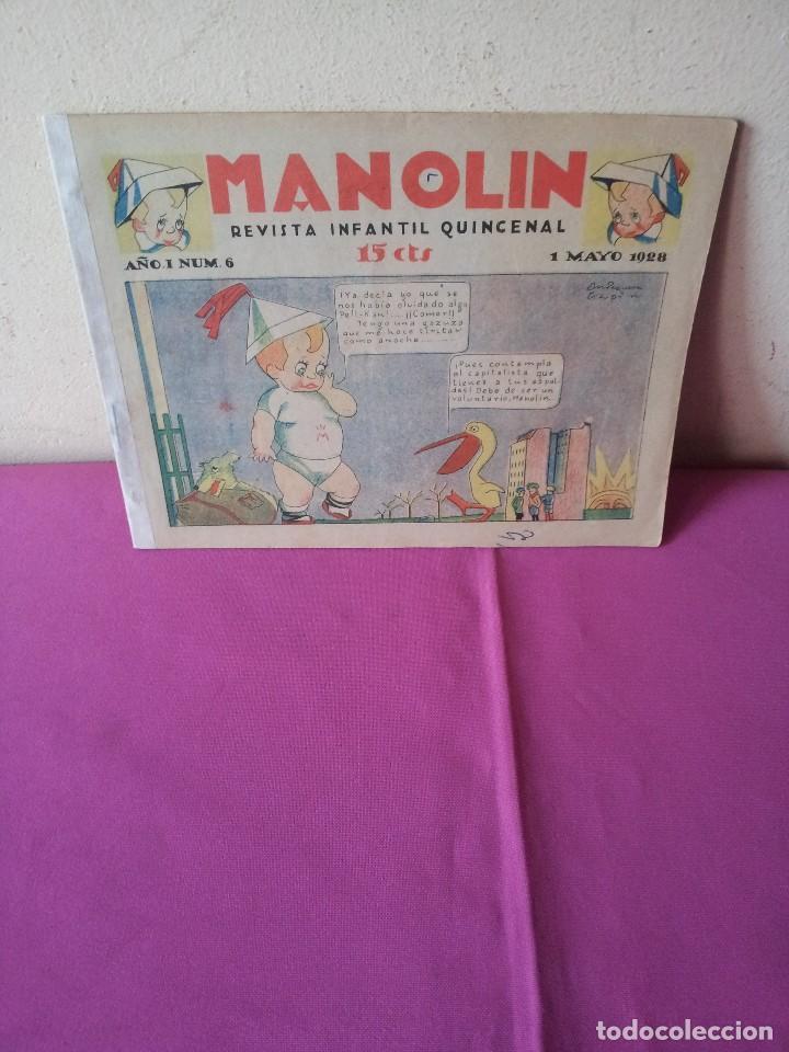 MANOLIN - REVISTA INFANTIL QUINCENAL - AÑO 1 NÚM 6 - 1 MAYO 1928 (Tebeos y Comics - Tebeos Clásicos (Hasta 1.939))