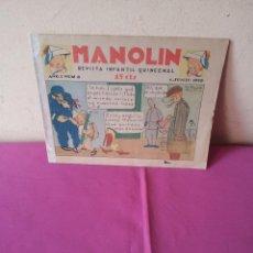Tebeos: MANOLIN - REVISTA INFANTIL QUINCENAL - AÑO 1 NÚM 8 - 1 JUNIO 1928. Lote 115611955