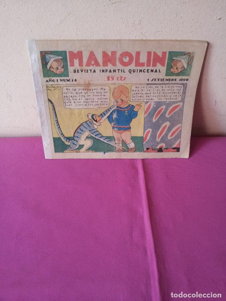MANOLIN - REVISTA INFANTIL QUINCENAL - AÑO 1 NÚM 14 - 1 SEPTIEMBRE 1928 (Tebeos y Comics - Tebeos Clásicos (Hasta 1.939))