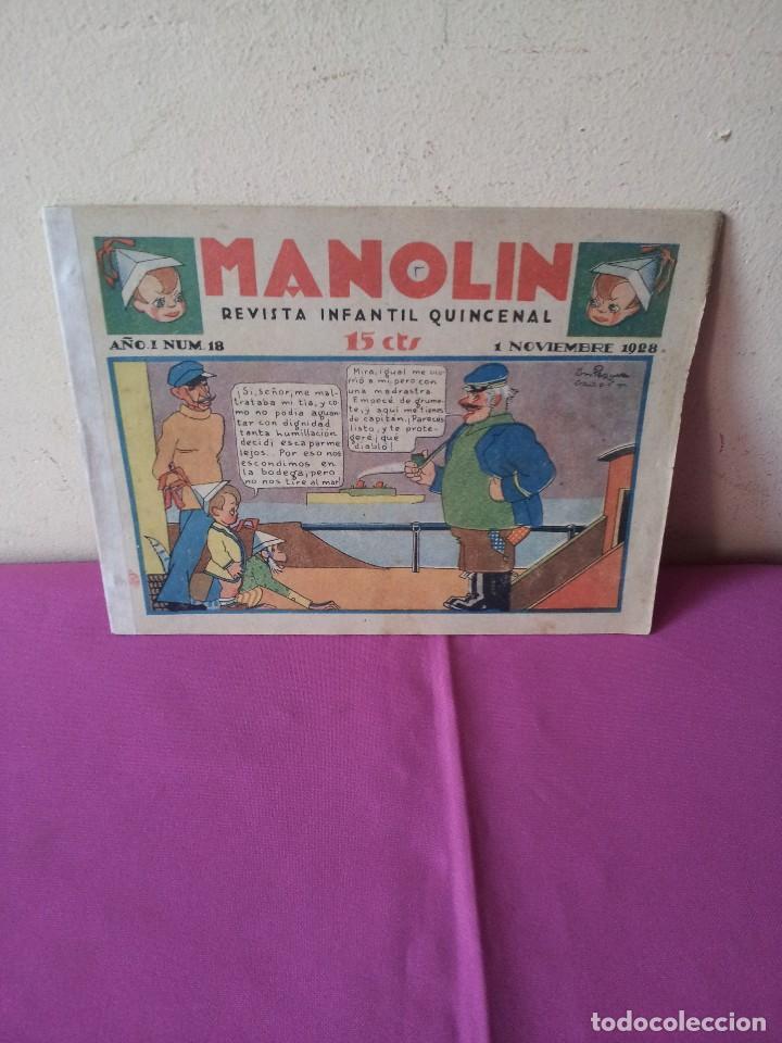 MANOLIN - REVISTA INFANTIL QUINCENAL - AÑO 1 NÚM 18 - 1 NOVIEMBRE 1928 (Tebeos y Comics - Tebeos Clásicos (Hasta 1.939))