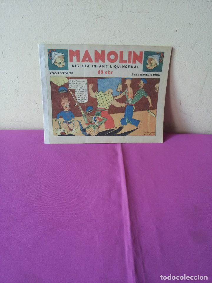 MANOLIN - REVISTA INFANTIL QUINCENAL - AÑO 1 NÚM 20 - 1 DICIEMBRE 1928 (Tebeos y Comics - Tebeos Clásicos (Hasta 1.939))