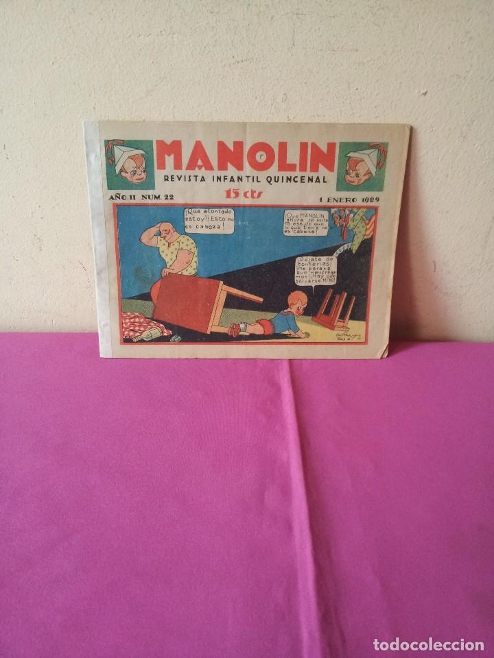 MANOLIN - REVISTA INFANTIL QUINCENAL - AÑO 2 NÚM 22 - 1 ENERO 1929 (Tebeos y Comics - Tebeos Clásicos (Hasta 1.939))