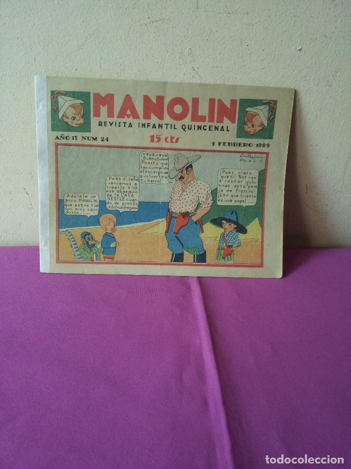 MANOLIN - REVISTA INFANTIL QUINCENAL - AÑO 2 NÚM 24 - 1 FEBRERO 1929 (Tebeos y Comics - Tebeos Clásicos (Hasta 1.939))
