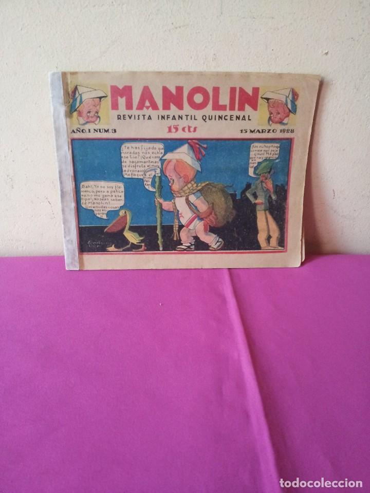 MANOLIN - REVISTA INFANTIL QUINCENAL - AÑO 1 NÚM 3 - 1 MARZO 1928 (Tebeos y Comics - Tebeos Clásicos (Hasta 1.939))