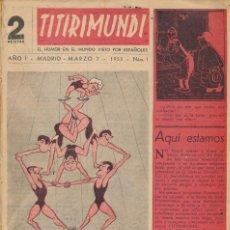 Tebeos: TITIRIMUNDI ED. MON - CONJUNTO ENCUADERNADO DEL Nº 1 AÑO I AL Nº 22 AÑO I. Lote 117984915