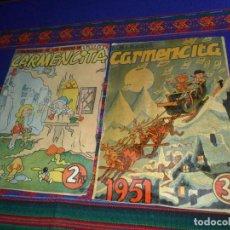 Tebeos: CARMENCITA ALMANAQUE 1951 Y EXTRAORDINARIO DE LOS CUENTOS DE HADAS Nº 1. ED. ALBERTO GENIES. RAROS.. Lote 121610011