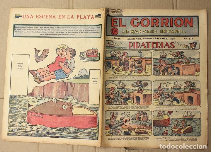 EL GORRION SEMANARIO INFANTIL. Nº 176. 15 DE ABRIL DE 1936. RECORTABLE UNA ESCENA EN LA PLAYA (Tebeos y Comics - Tebeos Clásicos (Hasta 1.939))