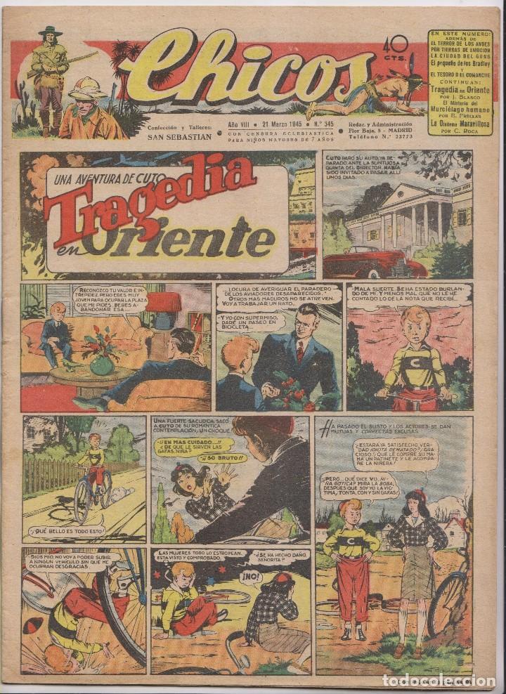 CHICOS. Nº 345. 21 MARZO 1945. SAN SEBASTIÁN (Tebeos y Comics - Tebeos Clásicos (Hasta 1.939))