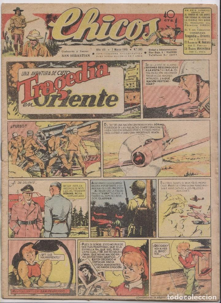 CHICOS. Nº 343. 7 DE MARZO 1945. SAN SEBASTIÁN (Tebeos y Comics - Tebeos Clásicos (Hasta 1.939))