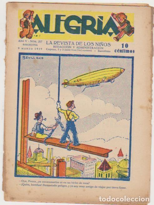 ALEGRÍA Nº 217. 9 MARZO 1929. SIN ABRIR (Tebeos y Comics - Tebeos Clásicos (Hasta 1.939))
