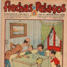 Tebeos: FLECHAS Y PELAYOS. Nº 418. 19 DE ENERO DE 1947. CON RECORTABLE DE VIVIENDA TIPICA, CASERIO VASCO. Lote 179386548