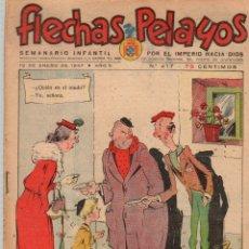 Tebeos: FLECHAS Y PELAYOS. Nº 417. 12 DE ENERO DE 1947. CON RECORTABLE DE LOS DISFRACES DE VVATSO DE LECHE. Lote 179386932