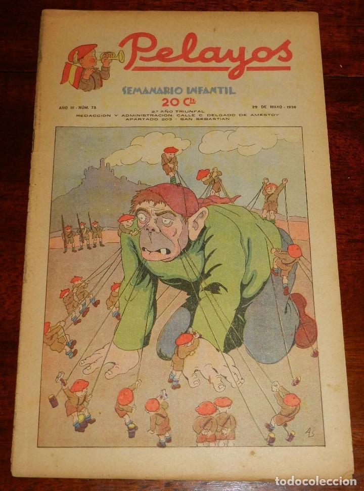 REVISTA PELAYOS, SEMANARIO INFANTIL 1938, Nº 75, MIDE 34 X 21 CMS. REQUETÉ, CARLISMO. (Tebeos y Comics - Tebeos Clásicos (Hasta 1.939))