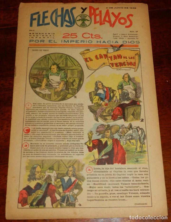 Tebeos: Flechas y Pelayos. Semanario nacional infantil. Nº 26. 4 de Junio 1939. Incluye cuento Mari Pepa. - Foto 2 - 195363646