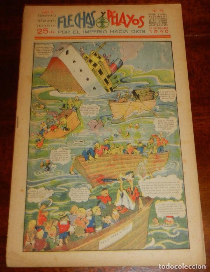 Tebeos: FLECHAS Y PELAYOS Nº 94 EDITA FE Y JONS, 1940, INCLUYE CUENTO MARI PEPA Y RECORTABLE. MIDE 34 X 21 C - Foto 3 - 195364265