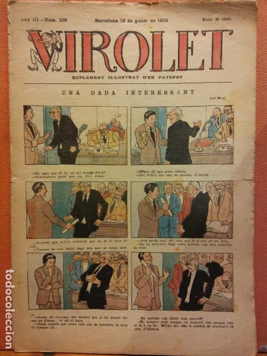 VIROLET. ANY III NÚM 106. BARCELONA GENER 1924. SUPLEMENT IL·LUSTRAT RAT D'EN PATUFET (Tebeos y Comics - Tebeos Clásicos (Hasta 1.939))