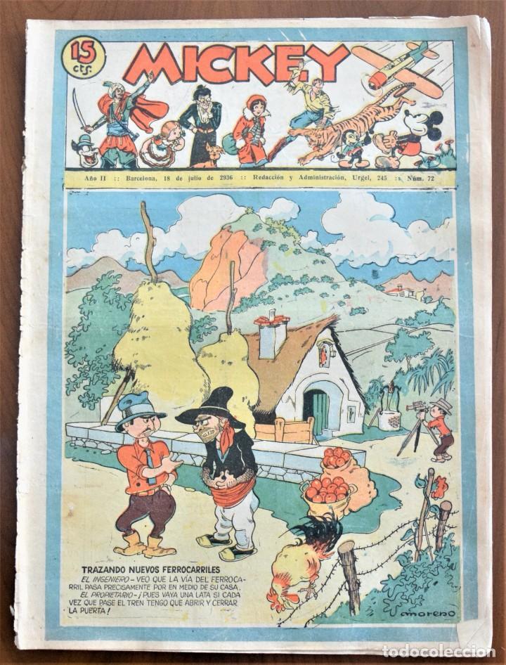 MICKEY REVISTA SEMANAL ILUSTRADA Nº 72 - 18 DE JULIO DE 1936 - INICIO GUERRA CIVIL - WALT DISNEY (Tebeos y Comics - Tebeos Clásicos (Hasta 1.939))