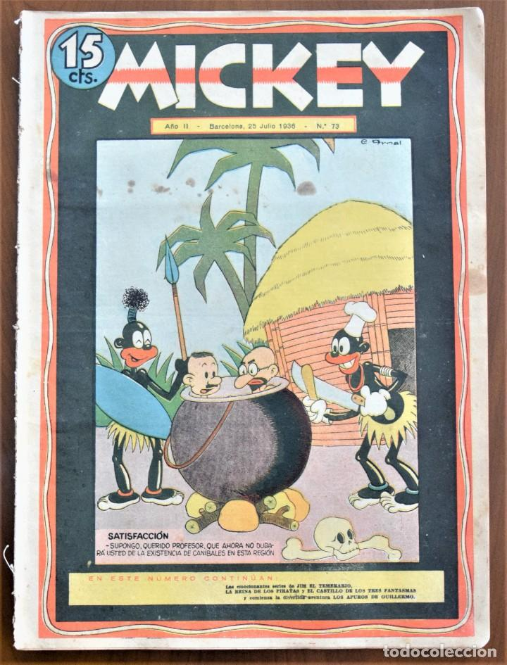 MICKEY REVISTA SEMANAL ILUSTRADA Nº 73 - 25 DE JULIO DE 1936 - GUERRA CIVIL - WALT DISNEY (Tebeos y Comics - Tebeos Clásicos (Hasta 1.939))