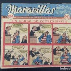 Tebeos: TEBEO COMIC MARAVILLAS BIBLIOTECA FLECHAS Y PELAYOS Nº 104. 4 DE SEPTIEMBRE DE 1941. 20 CTS. Lote 216593817