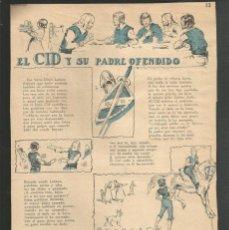 Tebeos: HISTORIA DE ESPAÑA - EL CID Y SU PADRE OFENDIDO - RECORTE DE LA REVISTA INFANTIL POCHOLO. Lote 218246918