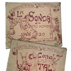Tebeos: APELES MESTRES · CUENTOS VIVOS X 2: EL CONDE TAL + LA SONDA; CUATRO HOMBRES Y UN CABO. 1ª ED. 1898. Lote 220125656