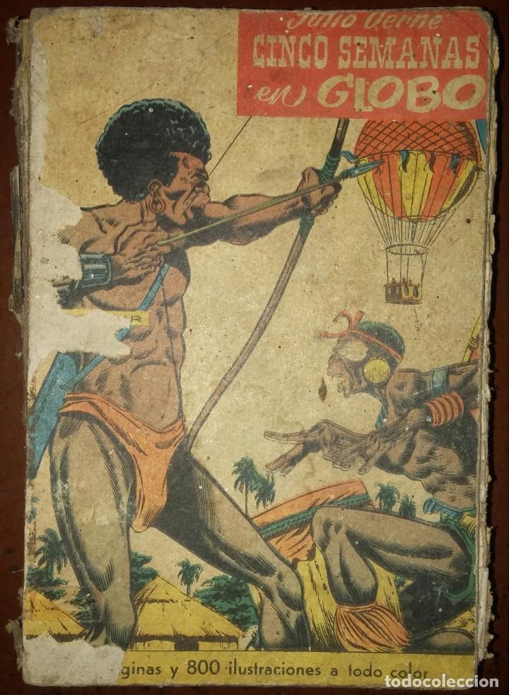CINCO SEMANAS EN GLOBO, ADAPTACIÓN AL CÓMIC (ED. CERVANTES, 1959) /// TEBEO JULIO VERNE LEGUAS VIAJE (Tebeos y Comics - Tebeos Otras Editoriales Clásicas)