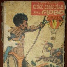 Tebeos: CINCO SEMANAS EN GLOBO, ADAPTACIÓN AL CÓMIC (ED. CERVANTES, 1959) /// TEBEO JULIO VERNE LEGUAS VIAJE. Lote 234549225