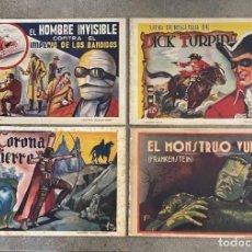 Tebeos: DIAMANTE NEGRO, 1942. LOTE 4 CUADERNOS: HOMBRE INVISIBLE, EL MONSTRUO VUELVE, DICK TURPIN.... Lote 235886115