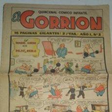 Tebeos: EL GORRION QUINCENAL COMICO INFANTIL AÑO 1 N°2 ORIGINAL CLIPER. Lote 278413958