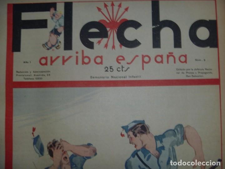 Tebeos: REVISTA FLECHA ARRIBA ESPAÑA J.O.N.S. FET FEBRERO DE 1937 a DICIEMBRE DE 1937 GUERRA CIVIL ESPAÑOLA - Foto 5 - 289713803