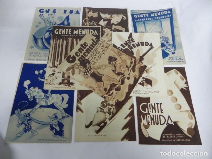 9 EJEMPLARES DE GENTE MENUDA, SUPLEMENTO INFANTIL BLANCO Y NEGRO, 6 SON DE 1932 Y 3 DE 1934. (Tebeos y Comics - Tebeos Clásicos (Hasta 1.939))