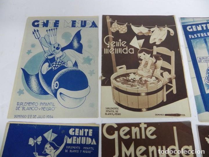 Tebeos: 9 ejemplares de Gente menuda, Suplemento Infantil Blanco y Negro, 6 son de 1932 y 3 de 1934. - Foto 3 - 289996993