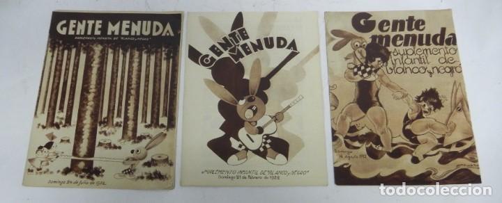 Tebeos: 9 ejemplares de Gente menuda, Suplemento Infantil Blanco y Negro, 6 son de 1932 y 3 de 1934. - Foto 6 - 289996993