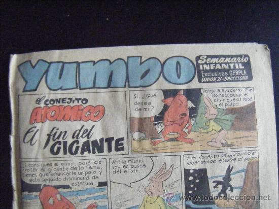 Tebeos: YUMBO, SEMANARIO INFANTIL EXCLUSIVAS GERPLA, EL CONEJITO ATOMICO. Nº 104. - Foto 2 - 32517759